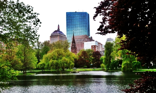 Boston Public Garden, John Hancock Tower, Arlington Street Church, Boston, Massachusetts, USA,