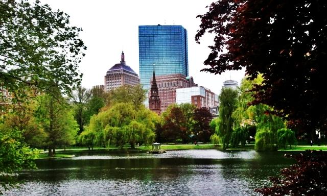 Boston Public Garden, John Hancock Tower, Arlington Street Church, Boston, Massachusetts, USA,