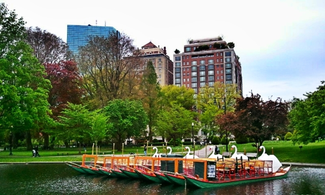 Boston Public Garden, Boston, Massachusetts, USA, Swan Boat Dock