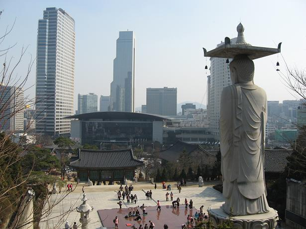 This is View of Coex Mall & World Trade Center as seen from Bongeunsa Temple in Seoul, South Korea.