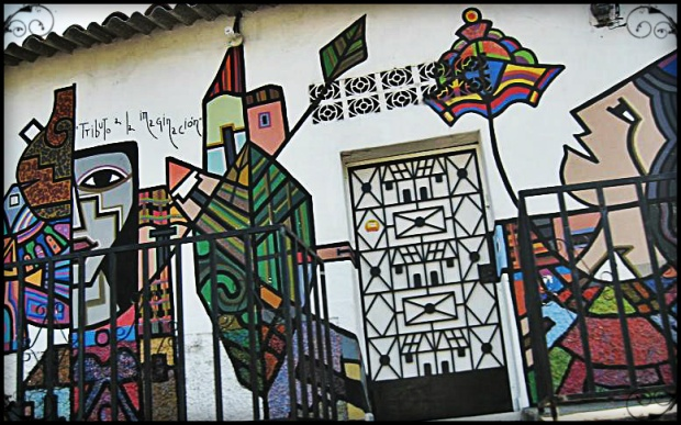 Mural on a house façade in La Palma, El Salvador