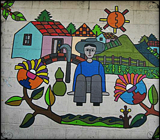Mural depicting daily life in La Palma, El Salvador
