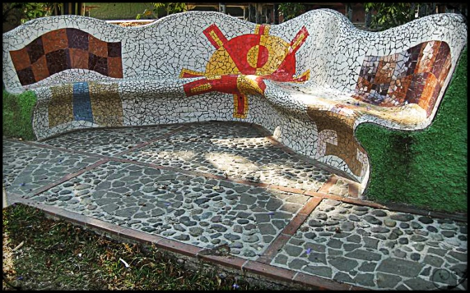 Mosaic on park bench in La Palma, El Salvador