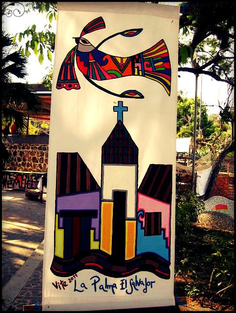 Painting of a bird and church in La Palma, El Salvador