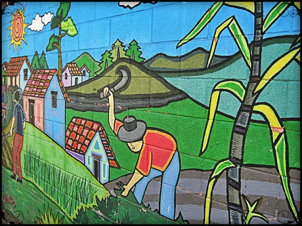 Mural of the life of a farmer in La Palma, El Salvador