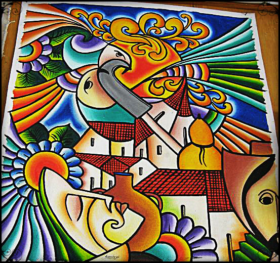 Colorful painting for sale in La Palma, in El Salvador.