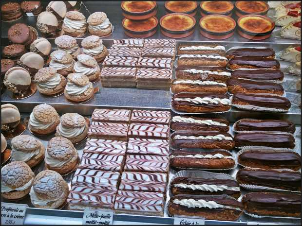 baked goods, sweets, eclairs, mille-feuilles, montreal bakery, marche jean-talon bakery