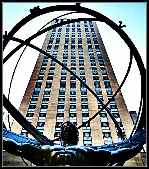 Atlas statue, Rockefeller Center, New York City, Manhattan, statue, the world