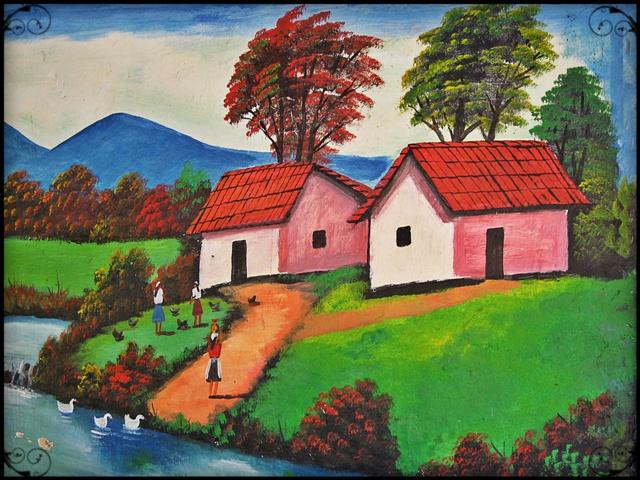 Painting, Traditional village, El Salvador, Chalchuapa