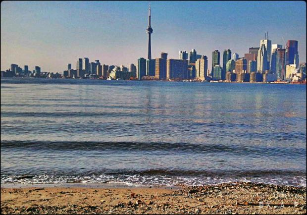city view, skyline, Toronto Ferry Docks, Ferry, Toronto, Ward's Island, Ontario, Canada, lake Ontario, shore, water