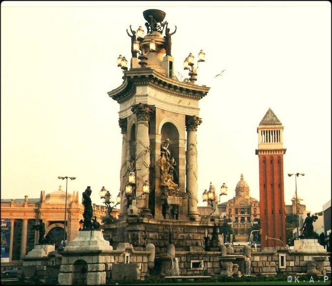 Plaça d'Espanya, Barcelona, Catalunya, Columns, square