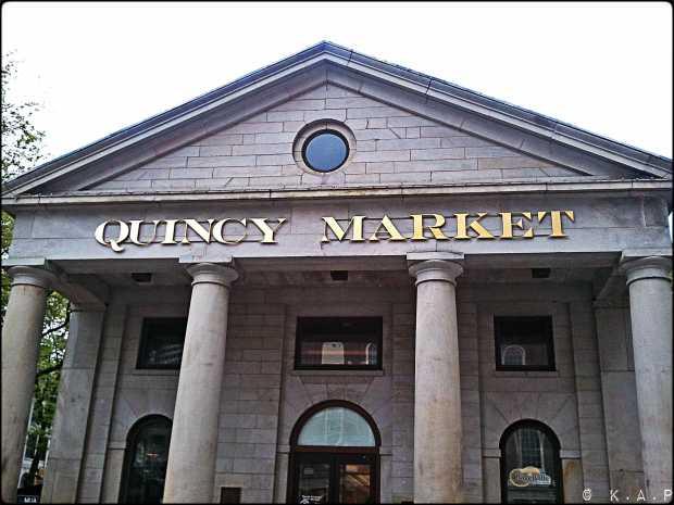 quincy market, boston, massachusetts, new england, building, columns