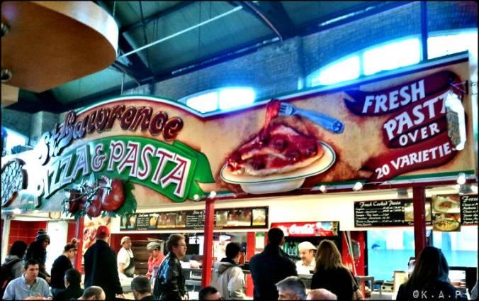 toronto, ontario, st lawrence market, front street, food market, pasta, pizza, italian food