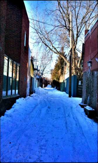 alley, montreal, snow, winter