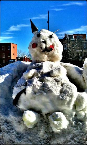 snow sculpture, snow cat, montreal, winter, outdoors, fun