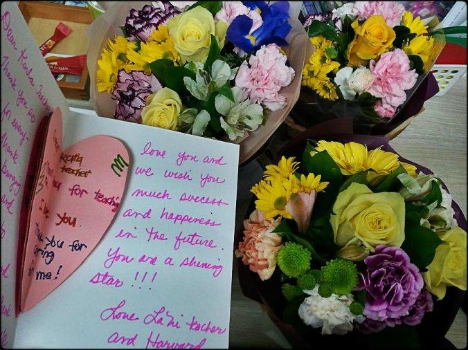Grad presents, flower bouquets