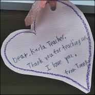 thank you note, teaching, cute, sweet, heart