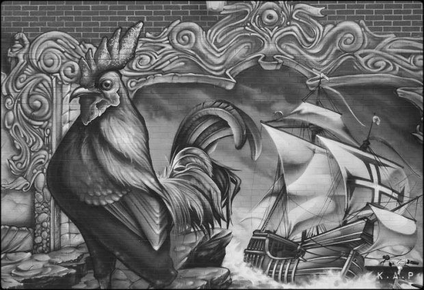 mural. rooster. ship, street art