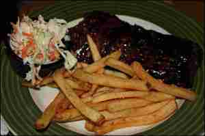 BBQ ribs, meals, ribs, french fries, restaurant, applebees