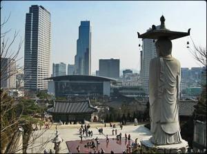 Temple, Buddhist temple, Buddhist statue, Gangnam, Seoul, South Korea, Old and new, prayer, culture, World Trade Center Seoul, Coex, Seoul, View, Travel, Visit Korea