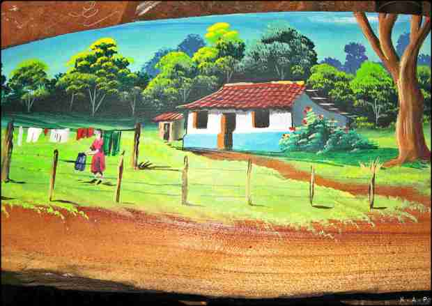 Scene of Costa Rican countryside, painting, wood plank, Sarchi, Alajuela, Costa Rica