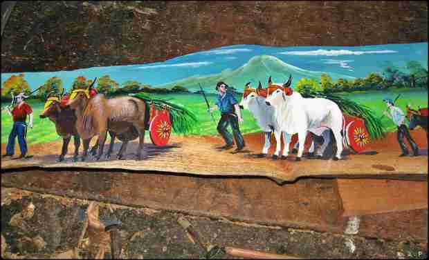 Life in the country side, Sarchi, Alajuela, Costa Rica, painting, wood work, plank