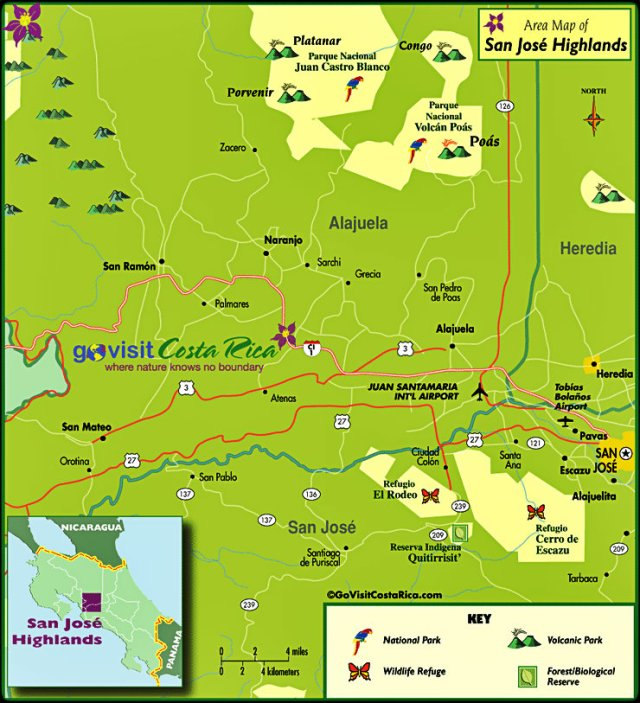 San Jose Highlands, map, Costa Rica, Central America
