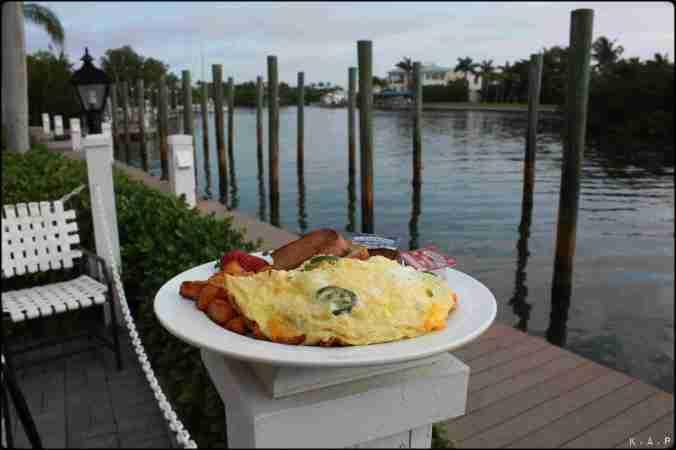 Breakfast, omelette, view, Gasparilla Island, Boca Grande, Florida, Charlotte Harbor, SW Florida, USA