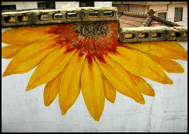 Gaemi Maeul, Ant Village, Seoul, South Korea, Art, Colorful wall, photography, sunflower