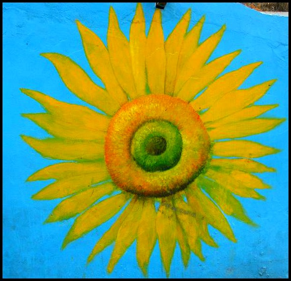 sunflower, Gaemi Maeul, Ant Village, Seoul, South Korea, Art, colorful wall, photography