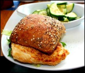 Chicken sandwich, grilled veggies, fresh, Village Fish Market Restaurant, Punta Grande, Fishermen's Village, Florida, Charlotte Harbor