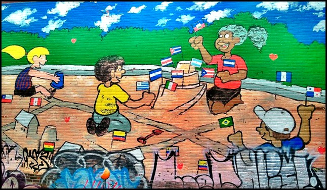 street art in Montreal, Latin American flags, Rosemont, mural, street art, urban art, montreal, quebec