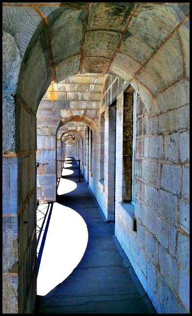 Arches and shadows at Fort Henry, an Unesco World Heritage Site in Kingston, Ontario, Canada
