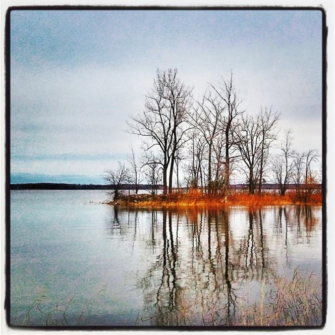 Lake, reflection on lake, Vaudreuil-Dorion, Quebec, Canada