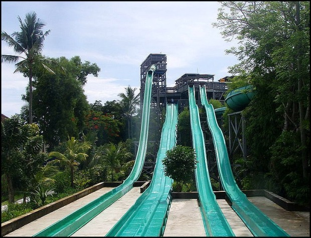 Waterbom Park Slides, water slides, Bali, Indonesia, SE Asia, fun, amusement, family travel, day trip