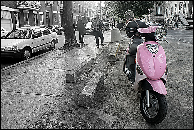 Motorcycle, Montreal, pink motorcycle, Quebec, Canada