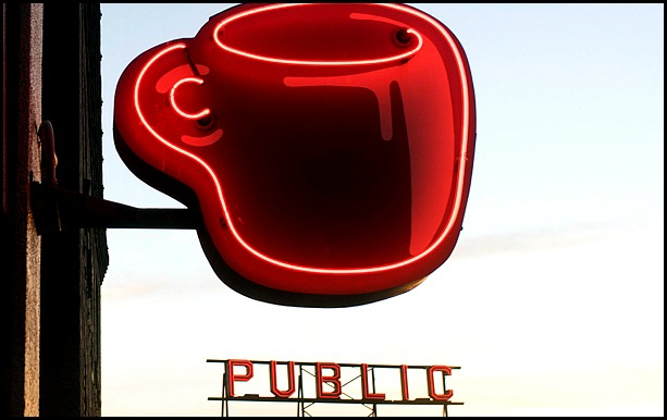 coffee mug, coffee cup, Seattle, Emerald City, NW, café, sign, neon sign