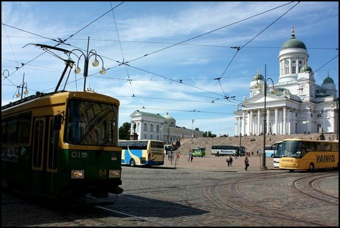 Senator Square, Helsinki Cathedral, tram, bus, Finland, Helsingfors, visit Helsinki, visit Finland, Helsinki Tourism
