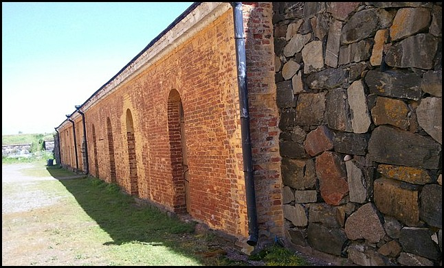 stone and brick wall, Suomenlinna, Helsinki, Finland, travel, photography
