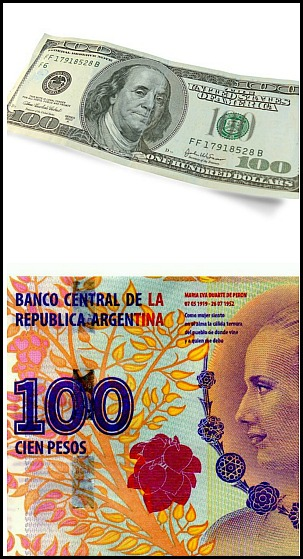 US dollars, Argentinian Pesos, currency, Argentina, foreign currency