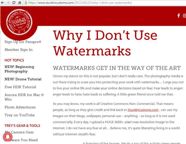 Should you use watermarks to protect your photos online? Photography expert Trey Ratcliffe explains why he doesn't. #copyright #photography #watermark #blog #blogging #photographers
