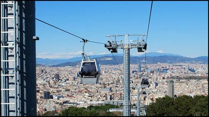 Montjuïc, Cable Car, Barcelona, Spain, Catalunya, view, travel