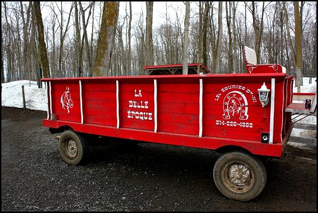 traditional cart, Maple tree, érablier, tap hole, bucket, collecting sap, Cabane à sucre, Constantin Grégoire, sugar shack, St-Esprit, Québec