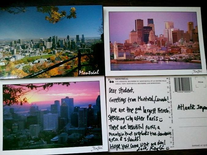 Postcards, Montreal postcards, cartas postales, cartes postales, travel, viaje, voyage, Montreal, Quebec