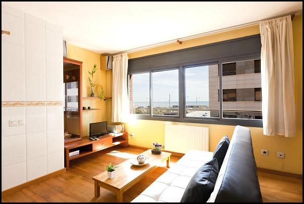 Barcelona Apartments, Barcelona, Catalunya, Living area, beach view,  travel, photography, hospitality, apartment rental, design