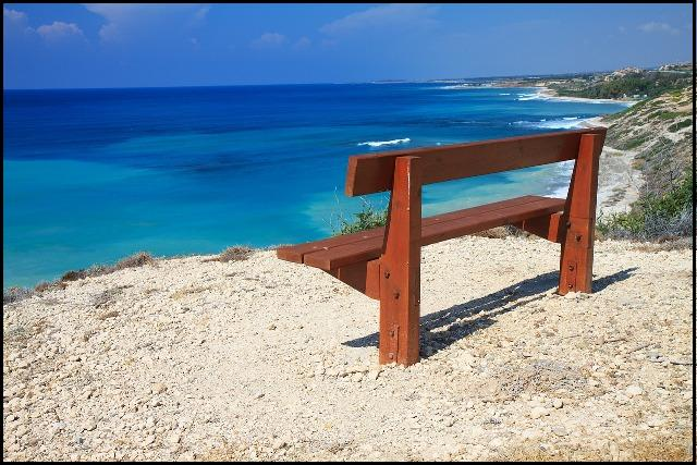 Cyprus, Mediterranean, bench, bench with a view, sea, travel, photography