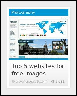 TravellerSoul76, StumbleUpon, Top 5 images for free images, photography, blogging