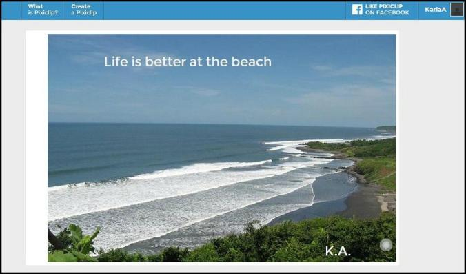At the beach, quote, travel, photography, PixiClip, PixiClip screenshot, online interactive whiteboard, Pixiclip, multimedia, travellersoul76