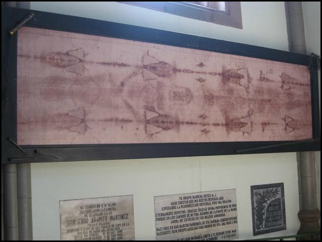 Replica of the Shroud of Turin, religious artifact, religion, cathedral, Santa Ana Cathedral, Catedral de Santa Ana, El Salvador, Centro America, travel, photography, TS76