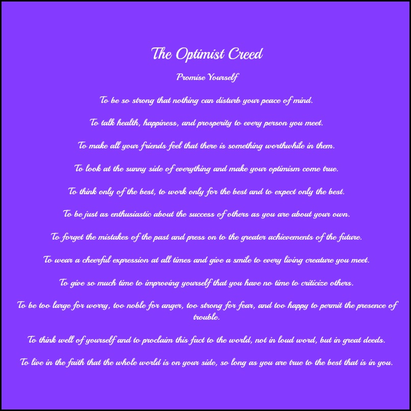 Christian D. Larson, Poem, inspirational poem, The Optimist Creed, truth, motivation, TS76